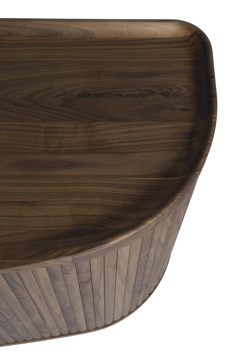 detail shot of a walnut wooden cupboard designed by Sjoerd Vroonland for Revised furniture
